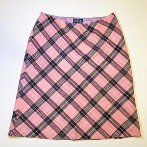 Gap Wool Pink Plaid Skirt